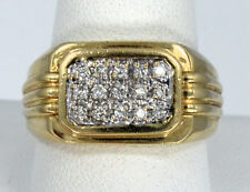 Men's 14kt Solid Yellow Gold Diamond Cluster Wide Band Ring ~ Sz 10 1/2 ~ 5.7 Gr