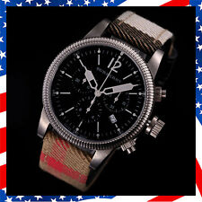 100% Swiss Made Authentic Burberry Chronograph House Check Leather Watch BU7815