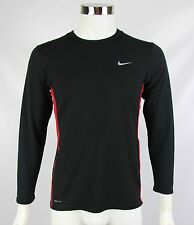 Nike Dri-Fit Mens Sz XL Black Red Trim Crewneck Long Sleeve Stretch Fitted Shirt
