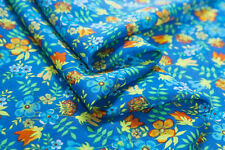Printed silk cotton fabric,floral,breathable,sew for dress,shirt,craft by yard
