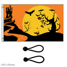 Halloween Flag Night 5x3ft Poles Or Windsocks Poles.With FREE BALL TIES