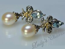 Barbara Bixby Blue Topaz Freshwater Pearl Fleur deLis Sterling 18K Gold Earrings