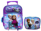 "Disney Frozen Roller Large 16"" Backpack Lunch Bag and Lunchbox 2pc Anna Elsa"