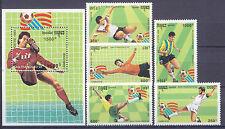 Fußball WM 1994, Soccer - Kambodscha - 1376-1380, Bl.199 ** MNH