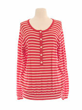 BODEN Women's Red Pale/ White Striped  Long Sleeve Wool Sweater US Size 18 NEW