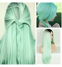 blue / mint green synthetic wig