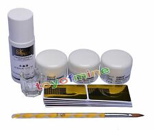 Acrylic Nail Art Full Set Powder Liquid Pen Guide Sticker Dappen Dish Kit #75