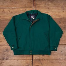 "Mens Woolrich Vintage Preppy Wool Suede Harrington Jacket Green XL 48"" R4113"