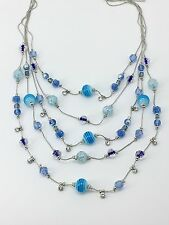INC International Concepts Silver-Tone Blue Bead Five-Row Illusion Necklace