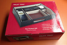 Black 5 Compartment Valet Jewelry / Watch  Box  Dresser Wallet Tray