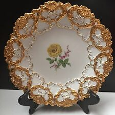 Beautiful Meissen Gilded Charger Plate Flower Bouquet 10 3/4""
