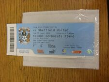 15/09/2009 Ticket: Coventry City v Sheffield United  (Sky Creations Lounge). Unl