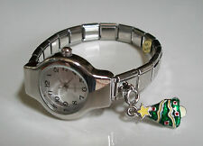 CHRISTMAS HANGING TREE SILVER  FINISH  STRETCHY FASHION WATCH