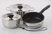 Galleyware 9-pc. Stainless Steel Hybrid  Nesting Induction Cookware Set