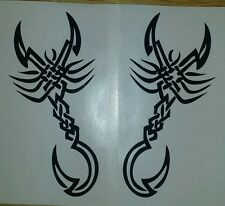 "Tribal Scorpion - two 6"" x 3"" vinyl car sticker, decals, graphics wall art"