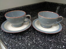 DENBY STROM GREY CUPS AND SAUCERS X 2
