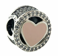 Authentic PANDORA Wonderful Love Charm, Soft Pink Enamel & Clear CZ 792034CZ