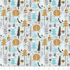 Fabric 100% Cotton Camelot Snowfall Trees