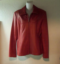 Jones New York Red Leather Coat Jacket - size  L - EUC!