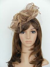 New Church Derby Cocktail Wedding Sinamay Fascinator Hat Veil Headband 1a Taupe