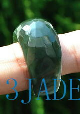 Faceted A Grade Natural Green Nephrite Jade Ring Size 10 1/2