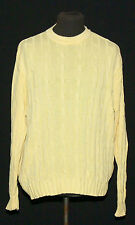 DAKS LONDON CREW NECK 100% COTTON CABEL KNIT SWEATER XL YELLOW