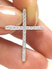 925 Sterling Silver Cross Crucifix Pendant for Chain 1 inch With Cubic Zirconia