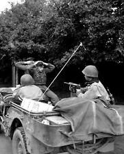 WWII Photo German POW's US Army Jeep M3 Greasgun  WW2 B&W World War Two / 2202