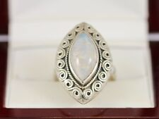 Moonstone Solitaire Ring Sterling Silver Ladies Size P 925 9.4g AS19