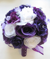 17 piece Wedding Bouquet Silk Flower Package Bridal PLUM LAVENDER PURPLE SILVER