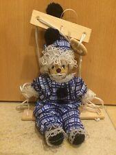 Schaukel Porzellan Marionetten Puppe Clown 20 Cm Blau Weiß Wippe Deko