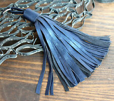 "HANDMADE MURKA MIDNIGHT BLUE GENUINE LEATHER 6.5""LONG TASSEL BAG CHARM FOB RING"