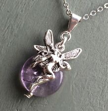 Fairy Faerie Fay Amethyst Silver Plated Pendant Wicca Aos Si Lore Mystical Pagan