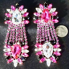 Amazing Reverse Stone Chandelier Earrings Drag Queen Showgirl Costume Stage