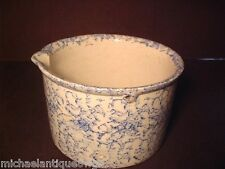Antique Blue & White Stoneware Sponge Ware Spouted Batter Mixing Bowl