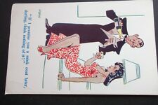 """OLD COMICAL POSTCARD - MAN & WOMAN """"IF I PROMISE YOU A MINK COAT LATER, DARLING"""""""