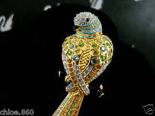 SWAROVSKI SIGNED PAVE' CRYSTAL PARROT BIRD  PIN ~ BROOCH RETIRED NEW