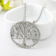 18K White Gold Filled Tree of Life Inlay Crystal Charm Pendant Necklace