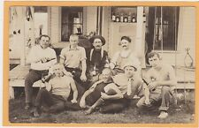 Real Photo Postcard RPPC - Eight Men Outdoors Drinking Beer(?) Male Camaraderie