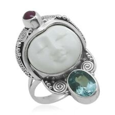 Carved Bone Blue Topaz Ruby Sterling Silver Ladie's Ring Size 9 (2.88 tcw)