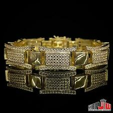 Mens 14k Yellow Gold Plated Simulated Diamond Bracelet Hip Hop Iced Out Link New