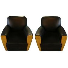 Pair of Art Deco Chairs in Black Leather, France 1800-1899 #6531