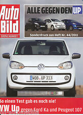 VW Up Ford Ka Peugeot 107 Sonderdruck Auto Bild 44 2011 reprint Test Auto PKWs