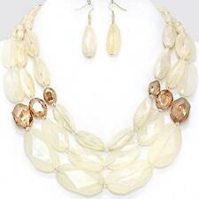 Chunky Bead Cream Brown Gold Chain Necklace Earring Set Fashion Costume Jewelry