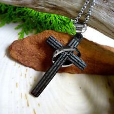 """Large """"Padre Nuestro"""" Stainless Steel Cross Ring Pendant Bible Prayer Necklace S"""