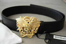Authentic 2016 VERSACE Mens Winged Gold Medusa Belt size 90 fits 30-32""