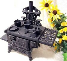 Antique Style Cast Iron Cooking Oven Pots Pans Set Miniature Wood Burning Stove