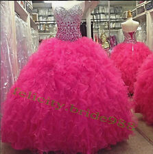 Crystals  Quinceanera Formal Prom Party Ball Gown Dresses Custom All Size 2-22+