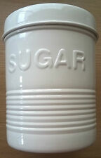 Vintage Style Cream Enamel Sugar Canister Storage Caddie Container Tin Jar