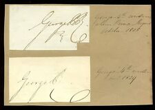 ROYALTY KING GEORGE 4th 1815 + 1829 SIGNATURES PRINCE REGENT + KING